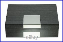 Grey Lacquered Wood Watch Cufflink Case Ring Storage Organizer Mens Jewelry Box