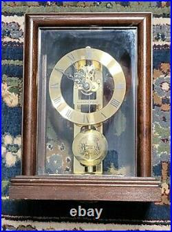 Hamilton Watkin Mantle Clock Made In Germany Wood & Glass Case Works