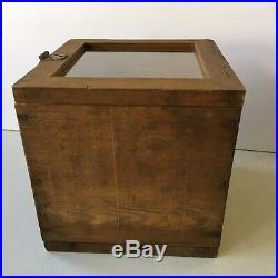 Handmade Wood Lock Box Glass Lid Display Case 10 Cube Shape Vintage Weathered