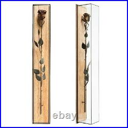 Handmade Wooden Carved Rose In Glass Case Lime-tree Wood Cool Gift Home Decor