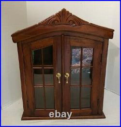 Hanging Wood and Glass Curio Display Cabinet Case 25 x 19.5