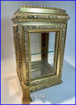 Horchow Creazioni Artistiche Vitrine Display Case Cabinet Tabletop 13 X 7.5 Gilt