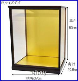 JAPAN Doll case using wood with door Width 36 Depth 27 Height 40 cm(glass size)