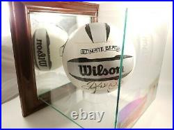 Kerri Walsh Jennings Signed Wilson Volleyball in Glass and Wood Display Case