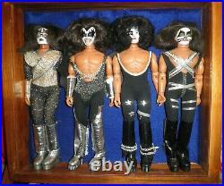 Kiss 12 4 Figure Vintage Rare Dolls + Wood & Glass Case