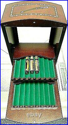 LEVENGER GLASS FRONT INLAIDED WOOD FOUNTAIN BALLPOINT 16 PEN CASE withBONUS PENS