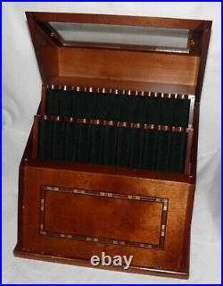 LEVENGER WELL READ LIFE Inlaid MAHOGANY WOOD & Glass 22 PEN DISPLAY CASE