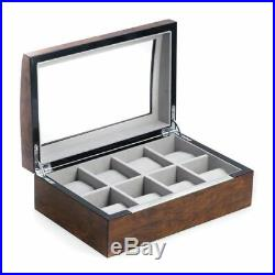 Lacquered Brown Burl Wood 8 Watch Case With Glass Top