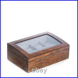 Lacquered Brown Burl Wood 8-Watch Case With Glass Top And Stainless Accents Soft