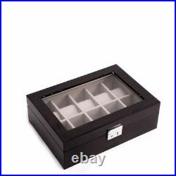 Lacquered Steel Gray Wood 10 Watch Case With Glass Top
