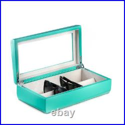 Lacquered Turquoise Wood Multi Eyeglass Case Glass Top 13.5L x 7.15W x 3.75H
