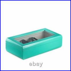 Lacquered Turquoise Wood Multi Eyeglass Case With Glass Top