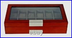Large 12 Watch Storage Wooden Display Chest Box Mahogany Glass Wood Case Cabinet