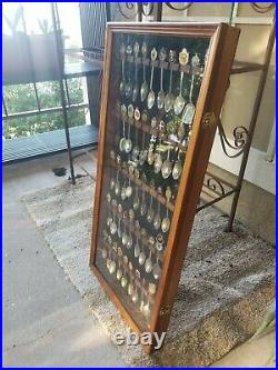 Large 50pc Vintage Souvenir Spoon Collection in Wood Display Case withglass door