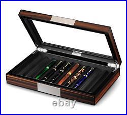 Lifomenz Co Wood Pen Display Box 10 Pen Organizer Box, Glass Pen Display Case Box