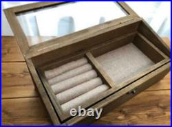 Made Of Wood Glass Case Jewellery Antique Vintage Brocanto