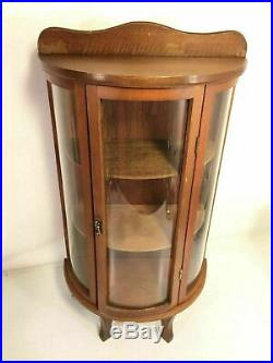 Miniature Curved Glass Wood Curio Vintage Tabletop Knick Knack Hang Display Case