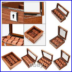 Multi Slot Wood Box Watch Display Case Glass Top Jewelry Storage Organizer Gifts