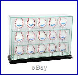 New Glass Upright 15 Baseball Display Case Uv Protection Black Wood