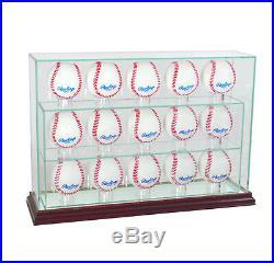 New Glass Upright 15 Baseball Display Case Uv Protection Cherry Wood
