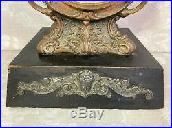 New Haven Bronze Clock Highly Decorated Case Wood Base Unique Glass Topper