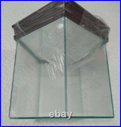 New Steiner Quad Glass 4 Baseball Display Case With Wood Base & Mirrored Bottom