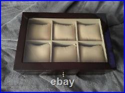 Nice Drexel Heritage 6 watch bracelet jewelry display case box wood wooden glass