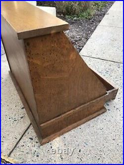 Nice Early Slant Glass Front Wood Display Case Cupboard WithCabinet Drawers
