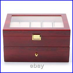 Nisorpa Wood Watch Box 20 Slots Glass Top Mens Watch Display Case Watch Box For