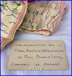 Old Authentic Japanese Geisha Doll Silk Kimono Wood Glass Case Artist Identified