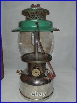 Original dated code 6-49 Coleman 236 major gas lantern w glass globe & wood case