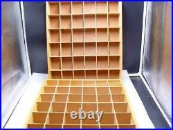 PAIR 2 Wood Shot Glasses Display Case 72 Compartments Wall Curio Shelf no doors