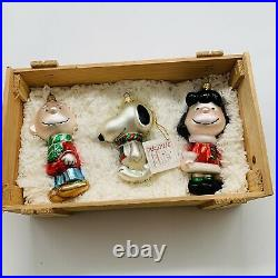 Peanuts Case Polonaise By Komozja Glass Ornaments Wood Box Set Made in Poland