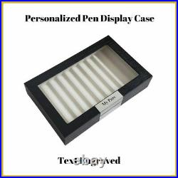 Personalized 10 Piece Black Wood Fountain Pen Box Storage Glass Display Top