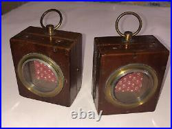 Pr Wood Glass Antique Pocket Watch Holders Display Stands Cases