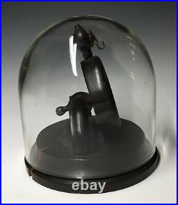 Rare Antique 19th C Glass Dome Pocket Watch Wood Display Case Stand Vitrine
