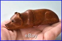 Rare Hand Carved Wood Antique Sewing NEEDLE CASE Dog Glass Eyes Bornholm Denmark