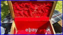 Rare Hand Carved Wood & Glass Locking Display Case With Secrete Lock Jewelry Box