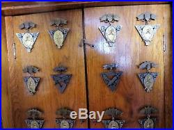 Rare Knights Of Pythias Medal Badge Wood Case Glass Front 2 Layers & 28 Medals