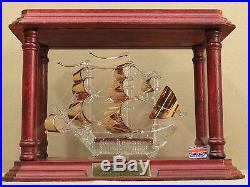 Rare Sea Venture Ship Model Glass Sculpture Wood Case Gold Brass Bermuda Vtg