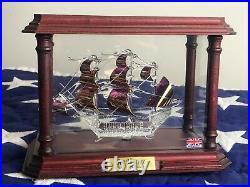Rare Sea Venture Ship Model sculpture in wood case Bermuda borosilicate glass