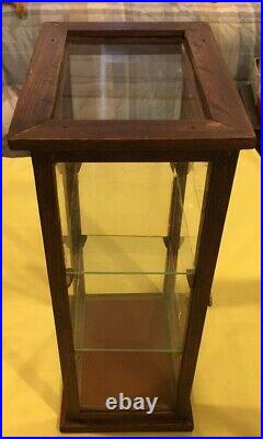 SMALL WOOD & GLASS STORE COUNTER TOP DISPLAY CASE With2 GLASS SHELVES-15 1/2 TALL
