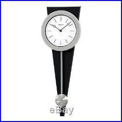 Seiko Wall Pendulum Clock Silver-Tone Case on Black Solid Wood Base