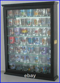 Shot Glass Display Case Cabinet Shelf Unit, Real glass door, Solid Wood