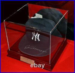Signed JOE DiMAGGIO Autograph Yankees CAP, COA, UACC, Wood & Glass CASE & PLAQUE