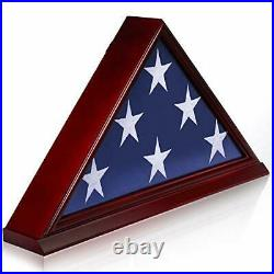 Solid Wood Memorial Flag Display Case with Base Real Glass Front Wall