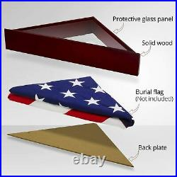 Solid Wood Memorial Flag Display Case with Base Real Glass Front Wall Mounted