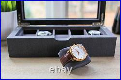 Solid Wood Watch Box Organizer Case with Glass Display