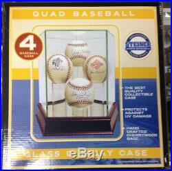 Steiner Quad Baseball Glass Display Case With Mirror & Wood Base
