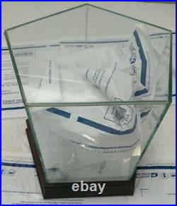 Steiner Quad Glass Baseball Display Case With Wood Base & Mirrored Bottom nice